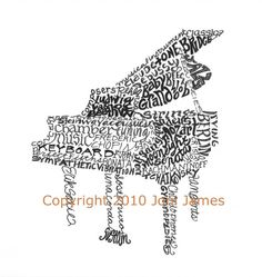 Pen and Ink Baby Grand Piano Art -  CALLIGRAPHY / TYPOGRAPHY Drawing by Joni James (CalligramORama)