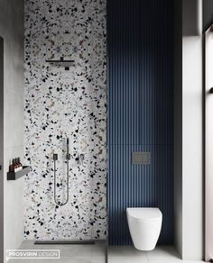 Terrazzo wall accent for the shower area. Blue color in the terrazzo repeated on the adjacent water closet area. Vertical stripes contrasting against the terrazzo pattern. Storage above the water closet, behind subtle cabinet doors.