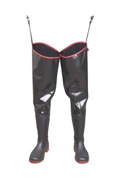 """WATERPROOF WADERS """"STRONG"""" Model: WR02 STRONG The thigh waders have been produced with high quality PVC boots welded in. The boots have been tested for slip resistance on ceramic floor with sodium lauryl sulphate solution (NaLS) and on steel floor with glycerol - protection type OB FO E SRC. Thigh waders have been made on waterproof, very strong new generation rubber, non demanding any special treatment. It's a good protection against water. High frequency welding makes seams stronger."""
