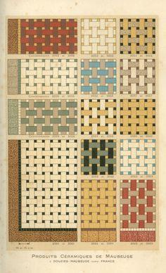 Ceramic tile patterns from a 1928 catalog by Douzies-Maubeuge. Linoleum Flooring, Stone Flooring, Floors, Paving Design, Tile Design, Vintage Tile, Vintage Decor, Basket Weave Tile, Classic House Exterior