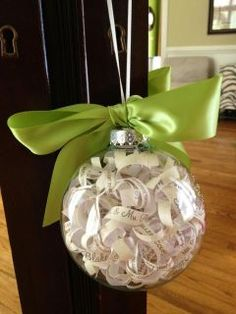 First year Christmas ornament for my Daughter-In- law and Son. Wedding invitation ornament.