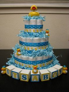 Techniques, strategies and info for baby shower diaper cake ideas – For example,… – Baby Shower Ideas for Boys – Grandcrafter – DIY Christmas Ideas ♥ Homes Decoration Ideas Ducky Baby Showers, Baby Shower Duck, Rubber Ducky Baby Shower, Boy Baby Shower Themes, Baby Shower Diapers, Baby Shower Cakes, Baby Shower Parties, Baby Shower Gifts, Shower Party