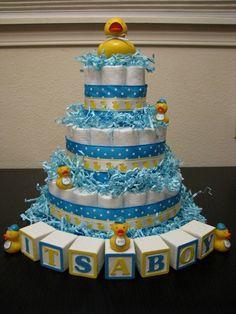 rubber duck baby shower diaper cake | Rubber ducky diaper cake