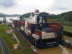 Cargo Ship crossing the Miraflores Locks, Panam Canal