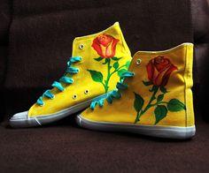 ..rose, rose, rose... from www.keyoka.sk/pubba Converse Chuck Taylor High, Converse High, High Top Sneakers, Painted Shoes, Chuck Taylors High Top, High Tops, Rose, Fashion, Moda