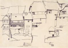 Egon Schiele - Alte Häuser in Krumau, 1914 - Landscapes by Egon Schiele - Wikimedia Commons