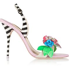 Sophia Webster Lilico floral-appliquéd striped leather sandals (1.805 BRL) ❤ liked on Polyvore featuring shoes, sandals, lilac, high heel sandals, floral print sandals, slingback sandals, leather high heel sandals and colorful sandals