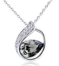 Grey Teardrop Crystal Pendant Sterling Silver Necklace