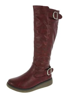 Heavenly Feet Berry 3 Ruby Red Knee High Wedge Boots  Buy online at www.schoose.co.uk