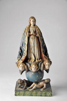 """""""Nossa Senhora da Conceição sobre «almas do Inferno""""  escultura em madeira policromada e dourada,  séc. XVII/XVIII"""