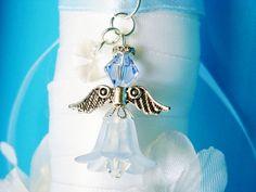 Something Blue Angel Wedding Bouquet Charm Swarovski Crystal Wedding Bouquet Charms, Bridal Bouquet Blue, Charms Swarovski, Swarovski Crystals, Angel Bridal, Sending Love And Light, Something Blue Bridal, Blue Crystals, On Your Wedding Day