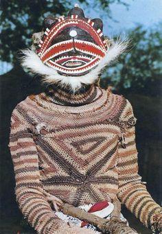 Africa | Makishi dancer.  Zambia || Scanned postcard