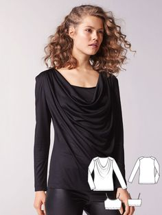 Thanks to the silk jersey, the waterfall neckline of this cowl neck blouse cascades in an especially dramatic way. For a sexy look, simply choose to wear the shirt without the separate top underneath.