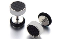 Pair Carbon Fiber Earrings Fake Plugs/Mens Ear Plugs/Earrings Fake Gauges/Cheater Plug/Fake Gauge Earings/Ear Tunnel Plug