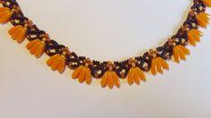 Orange unique necklace, Swarovski beads, royal necklace, feminine necklace, gift for wife, gift for Mom,Valentine gift, elegant necklace,