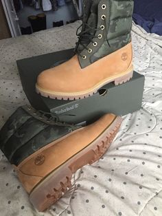 my camo timberlands - olivia Timberland Boots Outfit, Timberland Style, Timberlands Shoes, Timberland Fashion, Women's Shoes, Cute Shoes, Shoe Boots, Hip Hop Sneakers, Mens Brown Boots