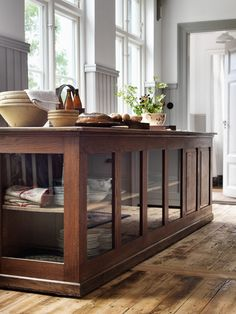 Shop display cabinet for storing china. >> making this home << home kitchens, kitchen interior Industrial Kitchen Design, Kitchen Interior, Kitchen Decor, Vintage Industrial, Kitchen Storage, Industrial Kitchens, Industrial Farmhouse Decor, Kitchen Cupboard, Design Kitchen