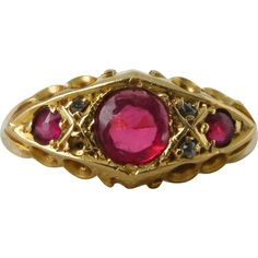 @rubylanecom  An Antique Victorian Paste Ruby and Diamond Ring in 18kt Yellow Gold - Mercy