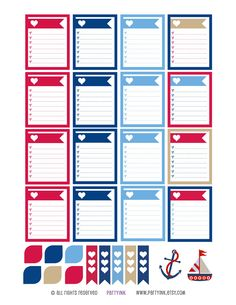 Monthly Planner Stickers - Nautical Color Sampler Checklist Boxes Plus! - Planner Labels - Fits Erin Condren Life Planner - MP4883503149287 by partyINK on Etsy