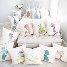 Princess Silhouette Elsa Inspired Pillow Cover - White Canvas / 18 / 18 Insert