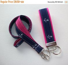 Sale  Anchors Lanyard and Key fob Keychain Set  with hot by Laa766  preppy / fabric / cute / patterns / key chain / office, nurse, student id, badge / key leash / gifts / key ring / design your own / add a colorful tassel