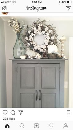 Home Decoration Living Room Top Of Cabinet Decor, Cabinet Top Decorating, Country Decor, Farmhouse Decor, Farmhouse Style, Living Room Decor, Bedroom Decor, Dining Room, Top Of Cabinets