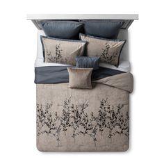 Blue & Taupe Embroidered Hexton Comforter Set (King) - image 1 of 3 Blue Comforter Sets, Floral Comforter, Queen Bedding Sets, Queen Comforter Sets, Fur Comforter, Bed Top View, King Size Comforters, Interior Design Presentation, My New Room