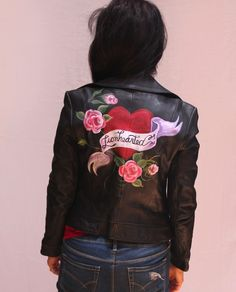 Hand Painted Leather Moto Jacket - Lionhearted #GUESS #Motorcycle