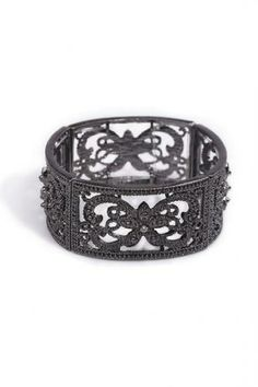 The bracelet has been crafted in alloy, featuring cutout detail, diamante embellishments, in a slip on style and stretch fit. Lace Bracelet, Bangle Bracelets, Bangles, Magnifying Glass Pendants, Flower Patterns, Bridal Jewelry, Vintage Jewelry, Chain, Detail