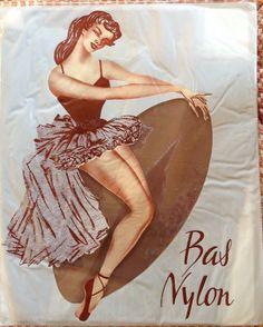 Détails sur Vintage bas français entièrement façonnés bas nylon organza sac…