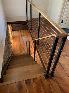 Cable Stair Railing, Interior Stair Railing, Modern Stair Railing, Stair Railing Design, Modern Stairs, Outside Stair Railing, Steel Railing, House Staircase, Staircase Railings