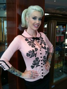 Sabina Kelley wearing the Dita Cardigan from Wheels and Dollbaby. I need this!