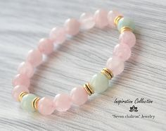 Rose quartz bracelet|Gift|for her|Amazonite Gemstone Bracelet|Beads Bracelet|Womens gift|Womens bracelet|Rose quartz Gemstone Jewelry