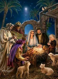 Nativity Scene of the birth of Baby Jesus in true meaning of Christmas
