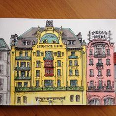 Ура, чувствую себя немного лучше. Мне пришел новый аккумулятор для телефона, и я рисую радостные домики #art #architecture #building #drawing #ink #marker #praha #prague #promarker #copic #hotel #vaclavak #sketch #sketchbook