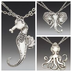 ❥ Vintage Silverplate turned Seahorse, Elephant and Octopus Pendants * Perfect for a Charm or Necklace * DIY How-To * Photo Inspiration * Silverplate Silverware Upcycle * OOAK Jewelry * Handmade Fork, Knife and Spoon Crafts Silver Spoon Jewelry, Fork Jewelry, Metal Jewelry, Vintage Jewelry, Handmade Jewelry, Silver Rings, Silver Spoons, Jewlery, Silver Bracelets