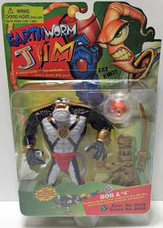(TAS033771) - 1994 Playmates Earthworm Jim Vintage Action Figure - Bob and #4
