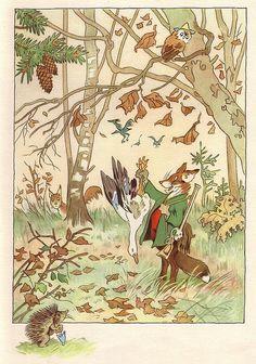 """November.  """"Von den wunderlichen Leuten und den vier Jahreszeiten"""", illustrated by Fritz Baumgarten, 1958."""
