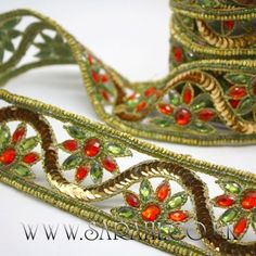 GREEN ORANGE RHINESTONE TRIM - sarahi.co.uk