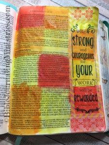I turned to 2 Chronicles for this particular Bible Journaling entry. Here, I used watercolors in some bright colors while using my Inspire Bible.