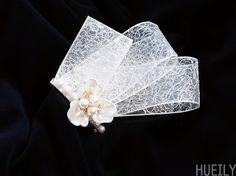 #wedding #hairpin #hueily #flower #ribbon