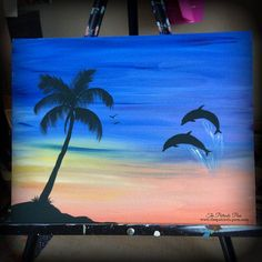 Sunrise Dolphins by ThePatrioticPam on Etsy $40 for 11x14 canvas original painting signed and dated by artist!