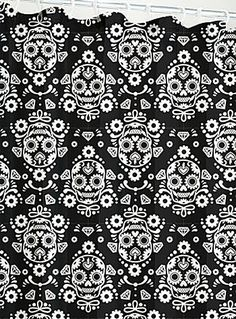 Skull-covered damask shower curtain   Offbeat Home