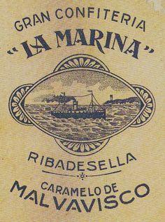 Antiguo anuncio de los caramelos de malvavisco de LA MARINA, en Ribadesella