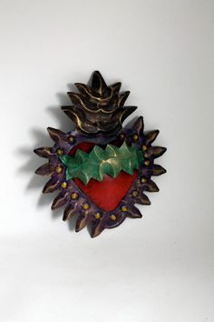 Mexican tin sacred heart with studs  Red Gold by TheVirginRose, $27.00