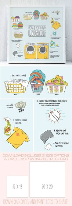 How to do your own laundry :: printable poster