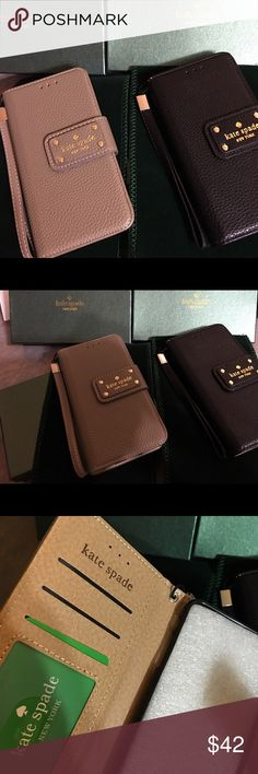 Kate Spade Leather flip wallet Samsung S7 New Kate Spade leather flip wallet for Samsung Galaxy S7. Ships to you Fast in original retail box as pictured & includes  green cleaning cloth. Thank you. kate spade Accessories Phone Cases