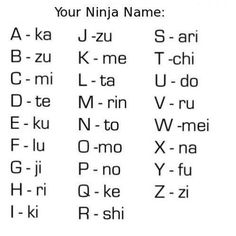 Rinkato Tekiku - My ninja name. (Letters of your first name, I split my name into first and last) (Yes, I know Japanese names are Patriarchal derivatives.it's a *ninja* name folks) Doug Funnie, Otaku, Math Games For Kids, Teen Activities, Fitness Activities, Japanese Names, Your Name In Japanese, Turning Japanese, Just For Laughs