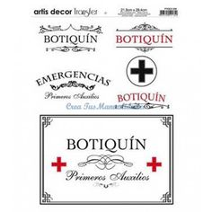Papel transfer Botiquin Artis Decor, x cm. Diy Wood Projects, Projects To Try, Happy Nurses Day, Printable Labels, Printables, Photo Transfer, Halloween Christmas, Etiquette, Crafts To Make