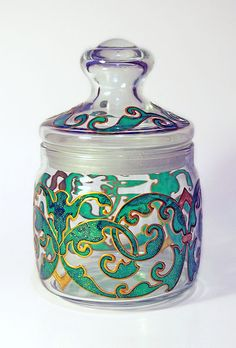 Hand painted kitchen glass jar